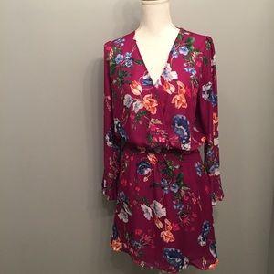 Parker Faux Wrap Long Sleeve Floral Print Dress
